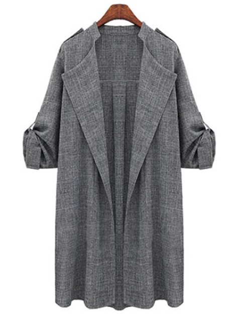 outfit Gray Plus Size Trench Coat - GRAY 2XL Mobile