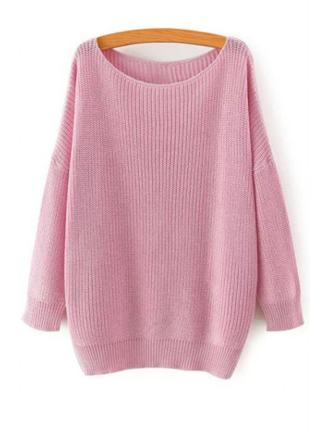 outfits Solid Color Loose-Fitting Jumper - PINK L Mobile
