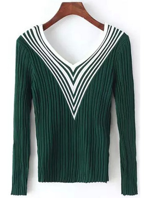 women Stripes Spliced V Neck Long Sleeve Jumper - GREEN ONE SIZE(FIT SIZE XS TO M) Mobile