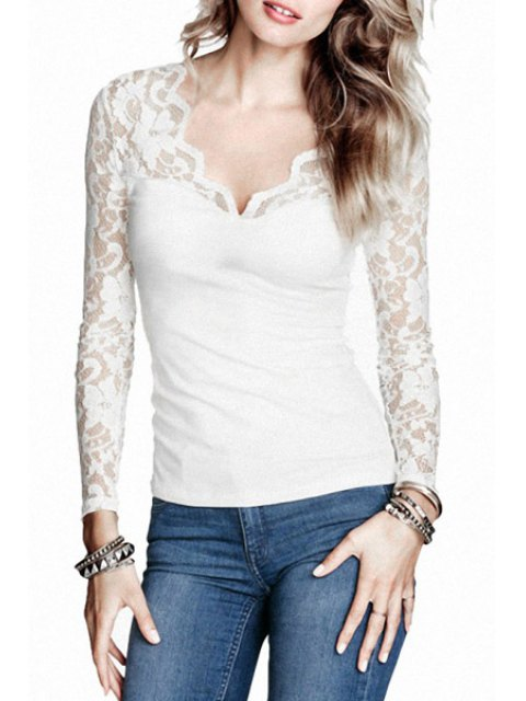fashion Long Sleeve Lace Patchwork T-Shirt - WHITE S Mobile