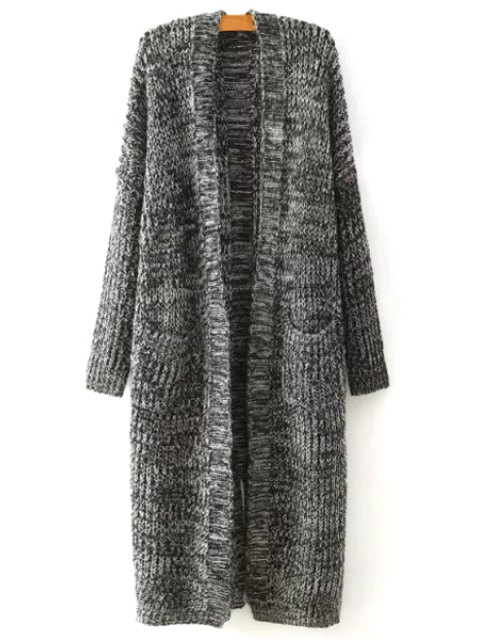 fancy Open Front Two Pockets Longline Cardigan - GRAY ONE SIZE(FIT SIZE XS TO M) Mobile