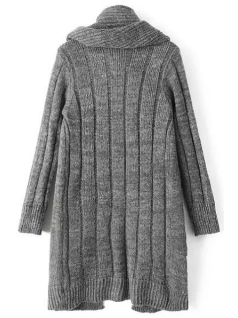 outfit Solid Color Stripe Long Sleeve Cardigan + Scarf - DEEP GRAY ONE SIZE(FIT SIZE XS TO M) Mobile