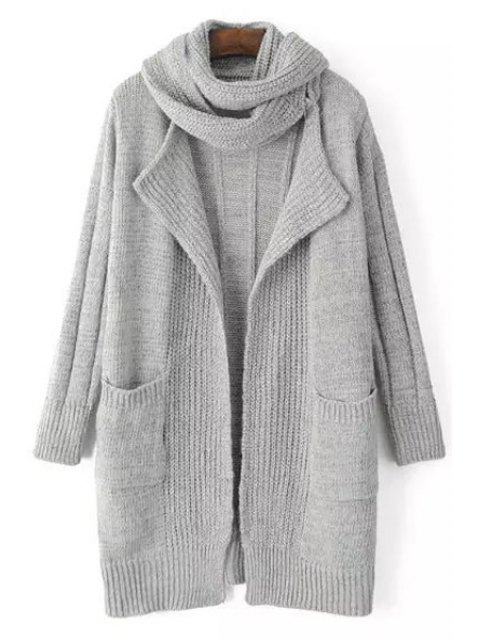 shop Solid Color Stripe Long Sleeve Cardigan + Scarf - LIGHT GRAY ONE SIZE(FIT SIZE XS TO M) Mobile