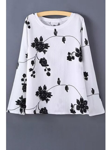 outfits Long Sleeve Flower Print T-Shirt - WHITE M Mobile