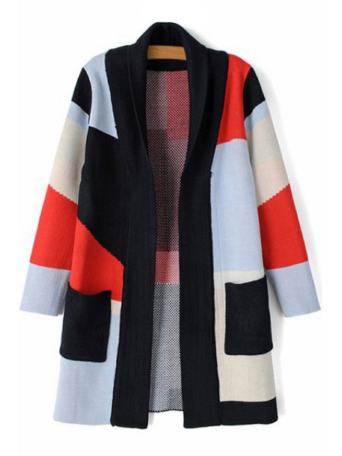 latest Turn-Down Collar Hit Color Long Sleeve Cardigan - BLACK L Mobile