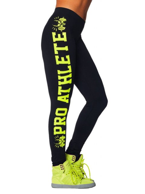 women's Butt Lifter Letter Pattern Skinny Leggings - YELLOW ONE SIZE(FIT SIZE XS TO M) Mobile