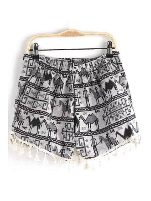 trendy Figure Print Tassels Shorts - GRAY S Mobile