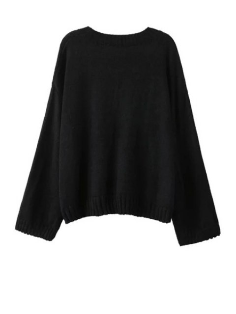 latest Wide Sleeve Swan Pattern Jumper - BLACK ONE SIZE(FIT SIZE XS TO M) Mobile