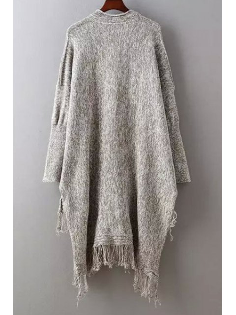 hot Fringed High Low Sweater - COFFEE ONE SIZE(FIT SIZE XS TO M) Mobile
