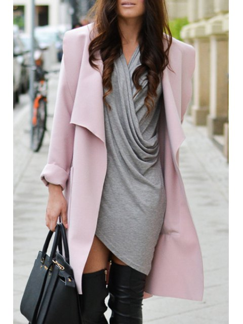 shop Solid Color Turn-Down Collar Trench Coat - PINK L Mobile