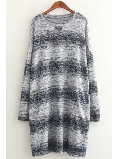 latest Long Sleeve Ombre Color Sweater - BLUE ONE SIZE(FIT SIZE XS TO M) Mobile