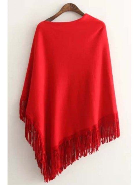 outfits Tessels Asymmetric Cape Sweater - RED ONE SIZE(FIT SIZE XS TO M) Mobile