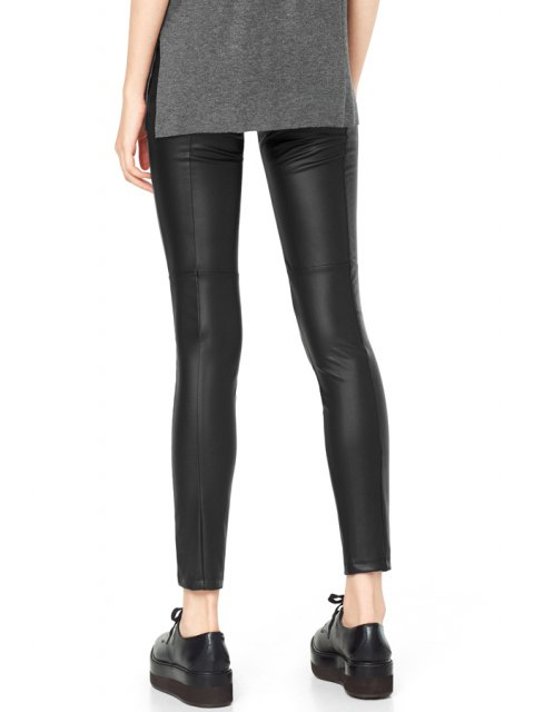 outfits PU Leather Narrow Feet Black Pants - BLACK L Mobile
