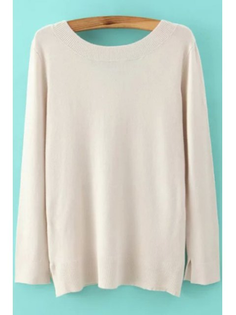 unique Long Sleeve Low Back Sweater - OFF-WHITE S Mobile
