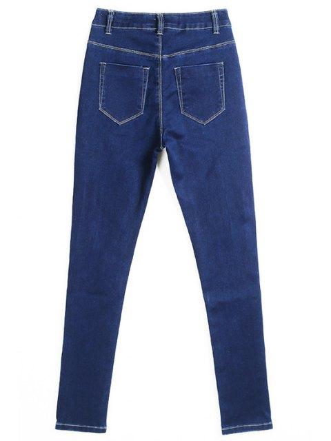 affordable Hole High Waisted Skinny Jeans - DEEP BLUE 36 Mobile