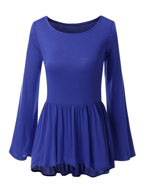 sale Bell Sleeve Solid Color Peplum T-Shirt - DEEP BLUE XL Mobile