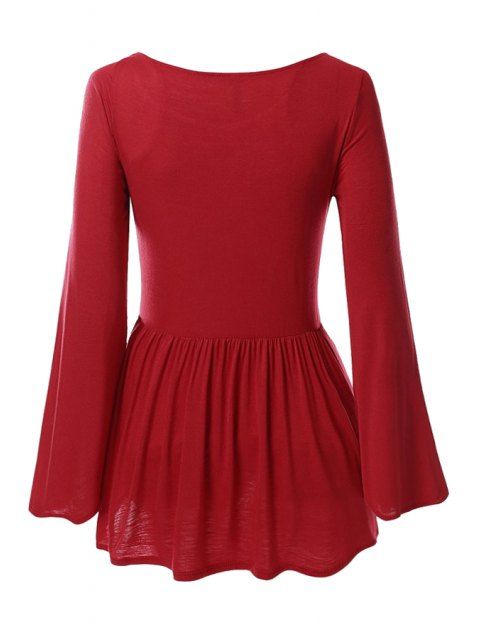 women Bell Sleeve Solid Color Peplum T-Shirt - RED XL Mobile