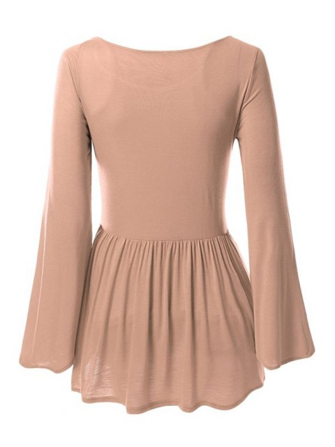 best Bell Sleeve Solid Color Peplum T-Shirt - COFFEE XL Mobile