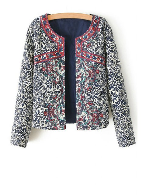 online Ethnic Print Long Sleeves Coat - COLORMIX L Mobile