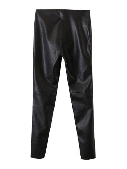 affordable Narrow Feet Faux Leather Black Pants - BLACK L Mobile