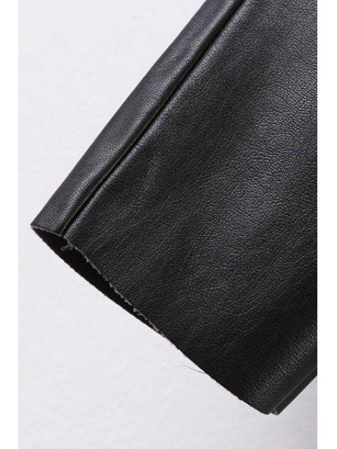 unique Narrow Feet Faux Leather Black Pants - BLACK S Mobile