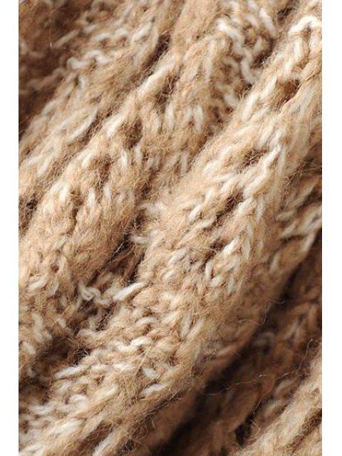buy Hollow Spliced Long Sleeve Cardigan - LIGHT KHAKI L Mobile