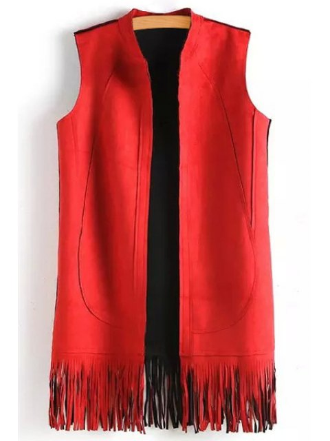 buy Solid Color Tassels Stand Neck Waistcoat - RED S Mobile