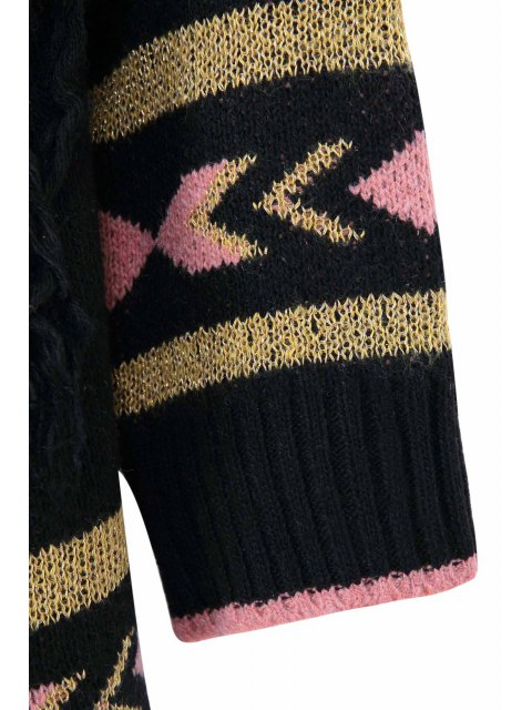 affordable Ethnic Pattern Tassels Asymmetrical Cardigan - BLACK ONE SIZE(FIT SIZE XS TO M) Mobile