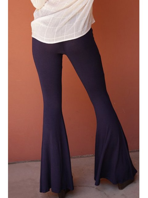 unique Flare Solid Color Pants -   Mobile
