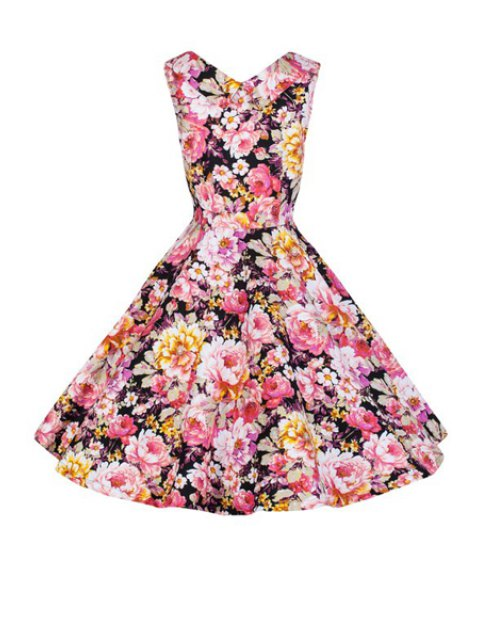 outfits Full Floral Ball Gown Vintage Dress - BLACK M Mobile