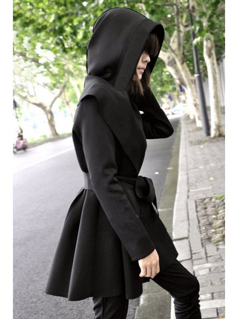 online Pure Color Long Sleeve Hooded Trench Coat - BLACK L Mobile