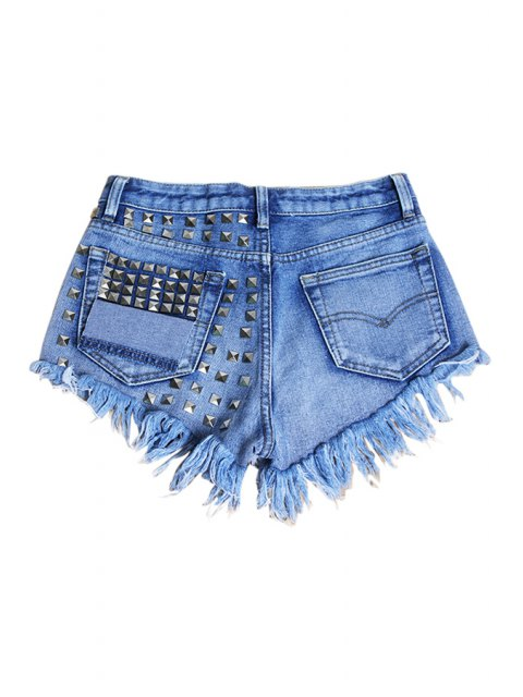 outfit Rivet Straight Leg Denim Shorts - LIGHT BLUE 34 Mobile