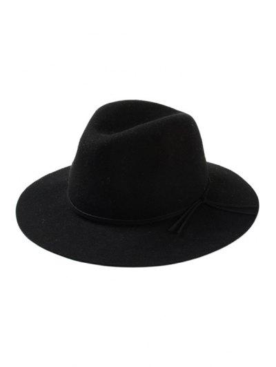 Lace-Up Felt Jazz Hat - Black