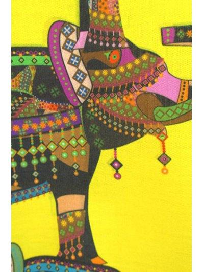 Elephant Print Sweatshirt - YELLOW M Mobile