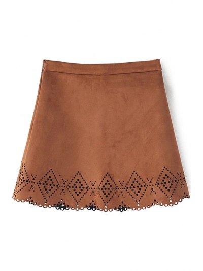 Argyle Pattern Openwork Solid Color Skirt - Khaki S