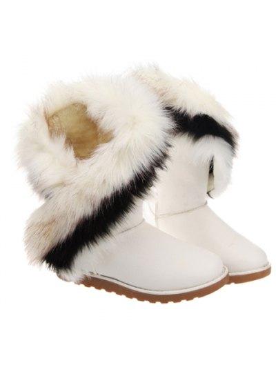 Color Block Faux Fur Snow Boots - WHITE 39 Mobile