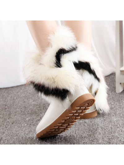 Color Block Faux Fur Snow Boots - WHITE 39 Mobile