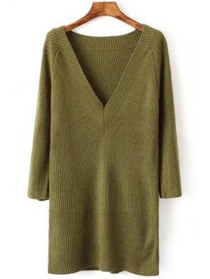 V Neck Solid Color Long Sleeve Dress