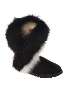 Color Block Faux Fur Snow Boots - Black