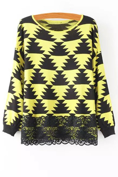 Geometric Pattern Lace Spliced Sweater, Yellow