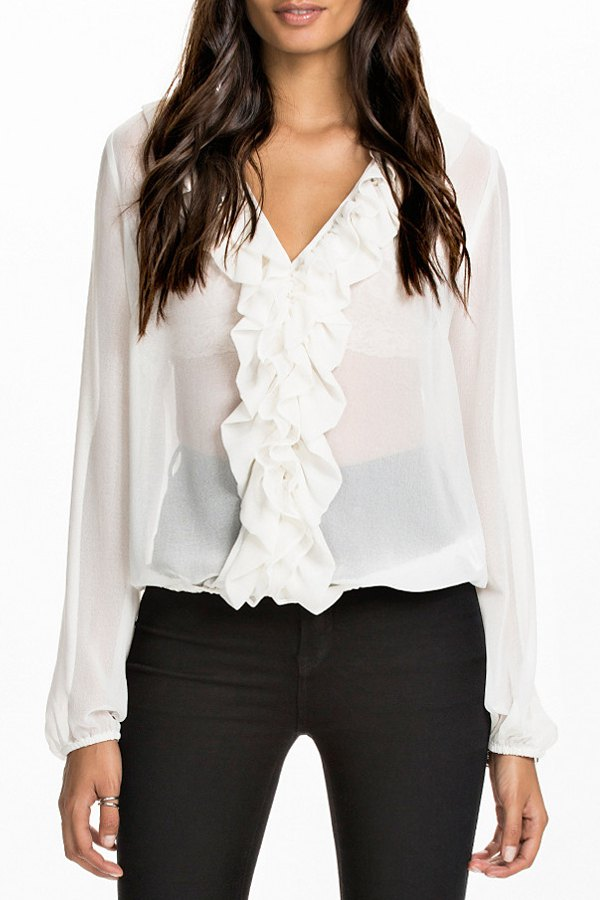 White Long Sleeve Blouse With Ruffles 56