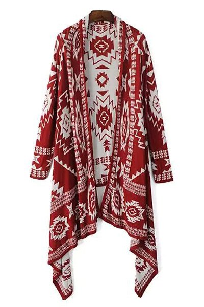 Color Block Geometric Pattern Long Sleeve Cardigan - RED ONE SIZE(FIT SIZE XS TO M)