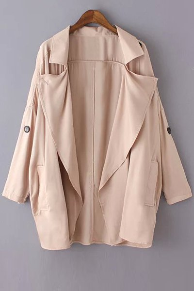 Solid Color Loose-Fitting Trench Coat, Pink