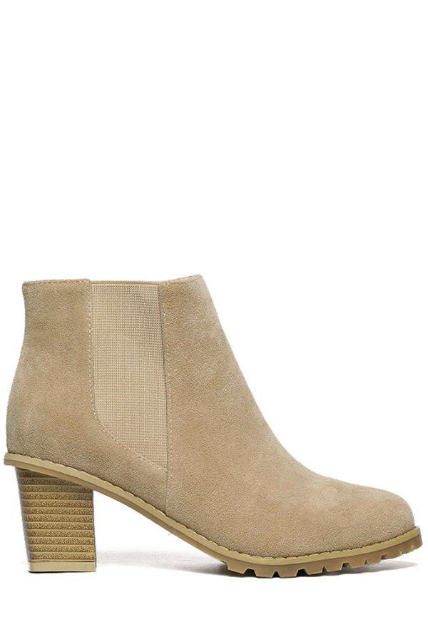 Elastic Suede Solid Color Ankle Boots