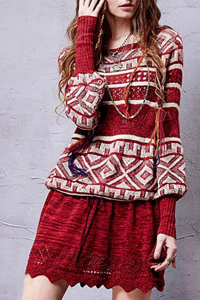 Scoop Neck Long Sleeve Geometric Pattern Sweater Dress