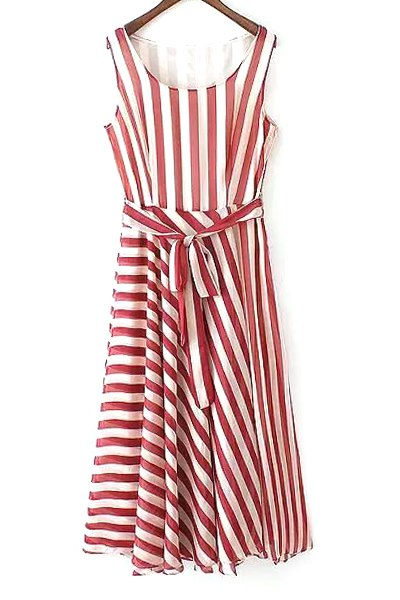 Scoop Neck Sleeveless Red Striped Sundress