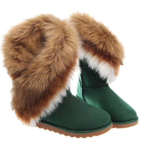 Color Block Faux Fur Snow Boots