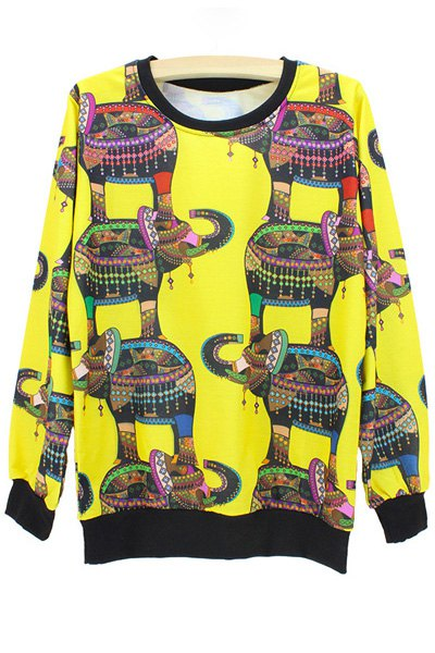 Round Neck Long Sleeve Elephant Print Sweatshirt
