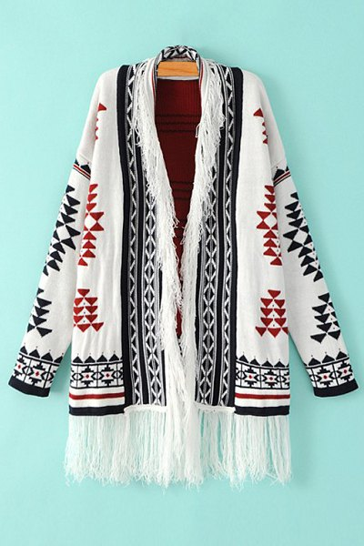 Open Front Tassels Jacquard Cardigan - WHITE ONE SIZE(FIT SIZE XS TO M)
