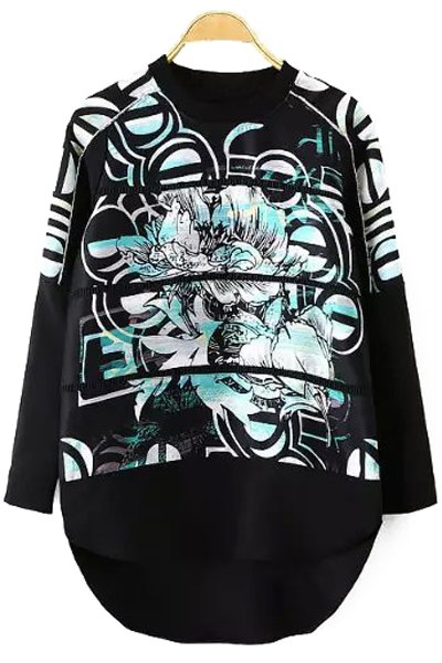 Abstract Print High Low Sweatshirt - BLACK S